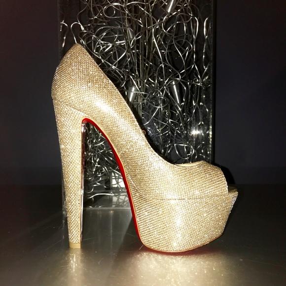 9616a2d5c62 Christian Louboutin Shoes   Altavera Gold Peeptoe Pumps   Poshmark