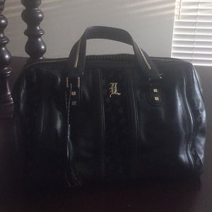 LAMB black and gold large genuine leather handbag