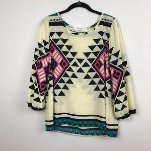 Peach Love Cream tribal print blouse