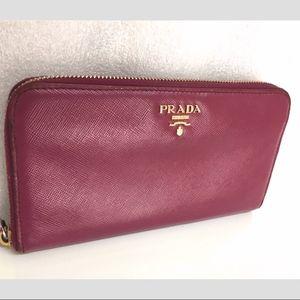 Authentic Prada leather wallet purple purse