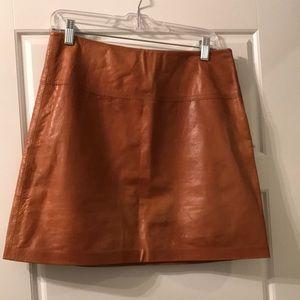 NWT tan/camel leather skirt