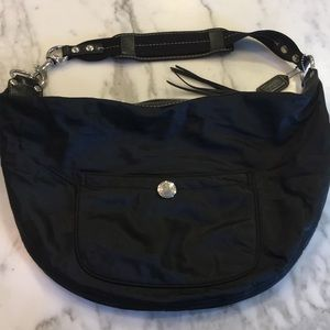 Coach black nylon and leather satchel