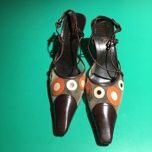 Miu Miu Orange & Brown Netted Kitten Heels. Sz38