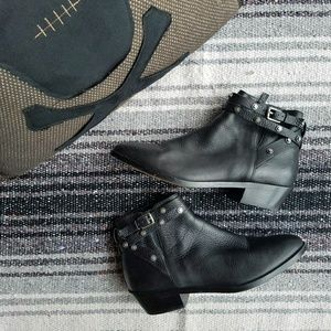 Halogen // Lidia Studded Leather Ankle Booties
