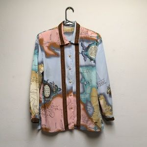 Tops - Vintage world map blouse.