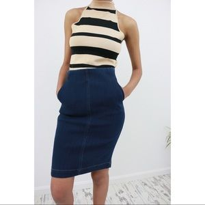 Sleek Cut Denim Pencil Skirt