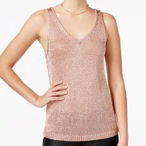 bar III Rose Gold Metalic Sweater tank