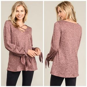 AVAILABLE Blush Criss Cross Tie Sleeve Hacci Top