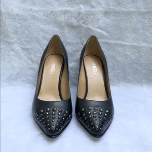 VANELI Black Leather Stud Toe Pump Women's 6 1/2