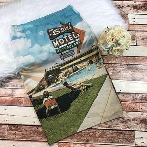 Topshop vintage motel print midi skirt