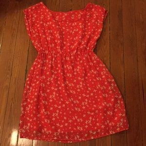 Red and White,Bird Patterned,empire waisted Dress!