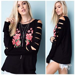 Best Ever! Black Embroidered French Terry Tunic