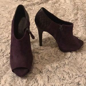 Purple Suede Booties with Back Snakeskin Detail