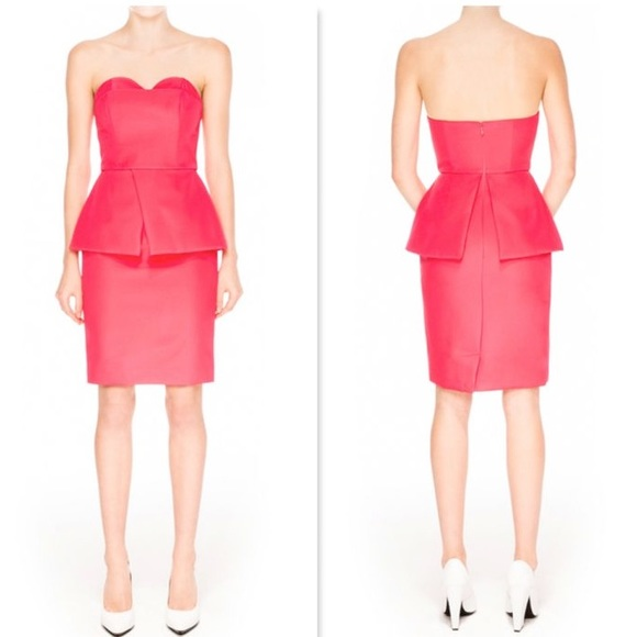 Finders Keepers Hot Pink Peplum Bustier Strapless a656a9332
