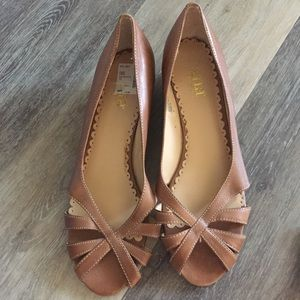 ANA Camel Low Wedge Ballet Flat Sandals