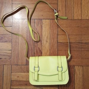 Neon Yellow Faux Leather Crossbody Purse