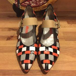 MIU MIU Colorblock Fabric Strap Heels Orange Black