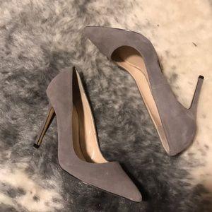 Grey suede pointed toe pumps