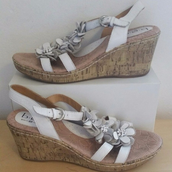 3d7de710ca Born Shoes | Vguc Boc Concept White Leather Floral Wedge | Poshmark