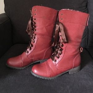 Shoes - Wild Diva Red Calf length Combat Boots 9