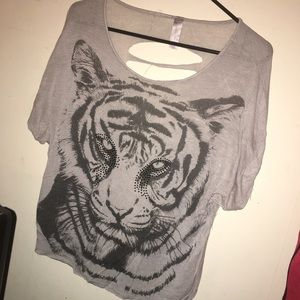 Tiger shirt with rips down the back