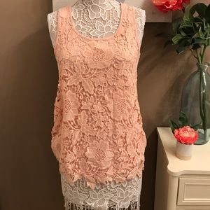 Light pink floral lace tank