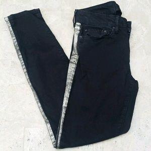 VINCE Black Dylan Side Stripe Skinny Jeans