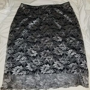 Dresses & Skirts - Black skirt with silver lace