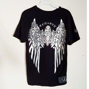 Cyberdog Mech Angel Wings Black Tshirt Goth Rave S
