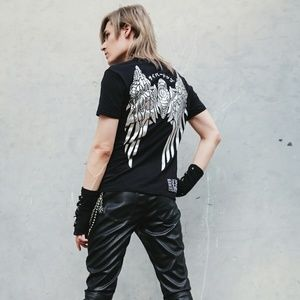 Cyberdog Mech Angel Wings Black Tshirt Goth Rave S