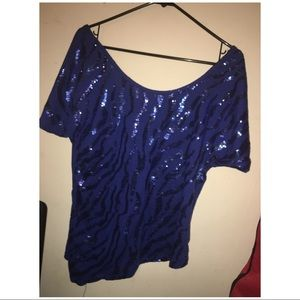 Blue sequin cropped shirt