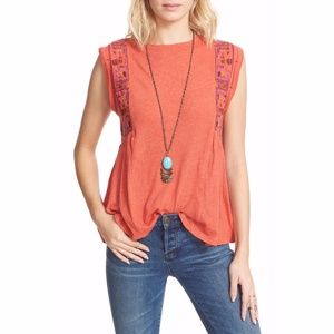 NWT Free People Red Marcy Embroidered Tank Top