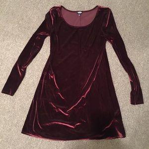 Red velvet long sleeve shirt swing dress