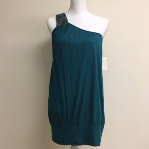 NWT Teal one shoulder tunic with beading detail