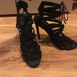 Black strappy Topshop heels