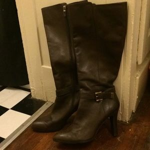 Chocolate brown knee high leather boots