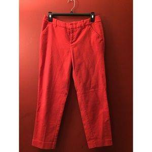 Mid-rise Red Ankle Pant