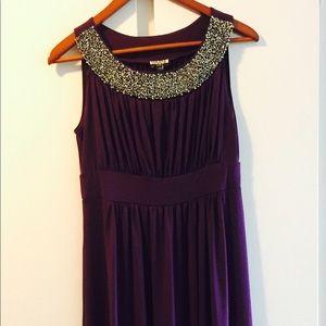 Dresses & Skirts - Plum Purple Beaded Empire Waist Dress
