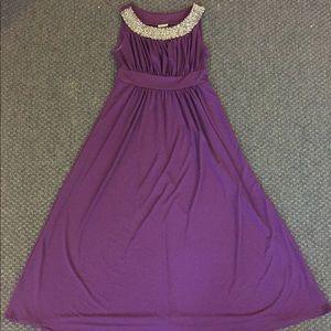 Plum Purple Dress - Beaded Empire Waist Dress