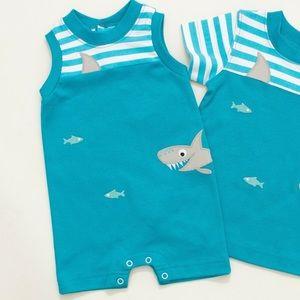 Other - Ricrac & Ruffles blue shark romper shorts