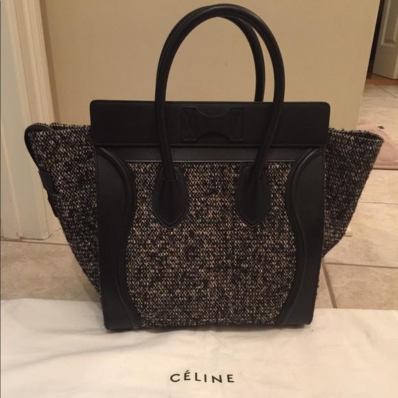 Celine mini luggage tweed black purse - New! 5f2f95b441b55