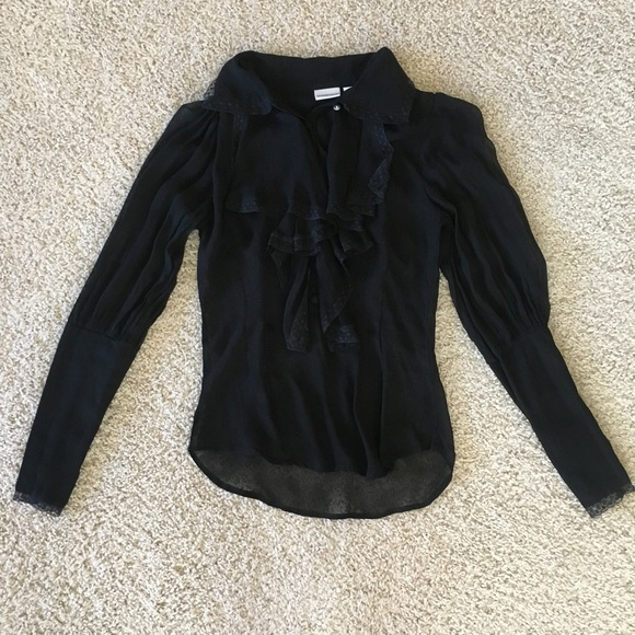 Vintage Tops - Vintage Sheer Black Ruffle Blouse