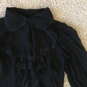 Vintage Tops - Vintage Sheer Black Ruffle Blouse