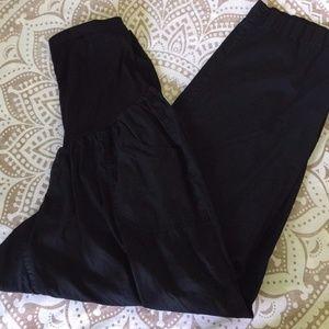 Maternity Pants Plus Black Capri Belly Band 2X