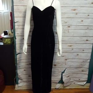 Vintage Dresses - {vintage} Black velvet slip dress