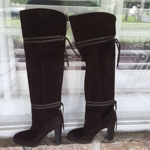 Made in Italy over the knee brown suede boots