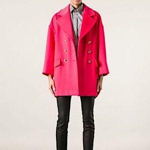 Talbots Fuschia Pink Pea Coat Size 14