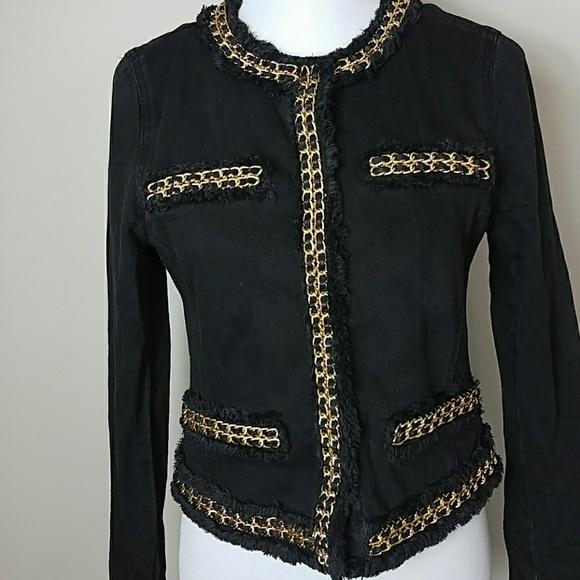 a26bdeeee Michael Kors Cropped Black Gold Chain Denim Jacket