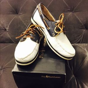 Men's Polo White & Blue Leather Shoes
