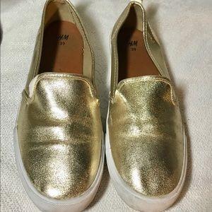 H&M Slip On Metallic Gold Sneakers